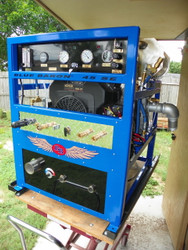 "The Blue Baron 45 SE is a Powerful Truck Mount that can do both Tile & Carpets. Our Truck Mount Tile & Carpet Cleaning machines are built with a ""Open Concept Construction"". This type of Body Frame design, allows you to easily maintain and service your unit,  as well as allows the machine to stay cool without ""Short Living & ""Over Heating""your Truck Mount.   Our Truck Mount can Deliver working pressure up to 3000 psi as well providing Superior Stable Heat from our Patented Axis Point Heat Exchanger System."