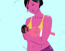Illustration of a breastfeeding mother
