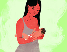 Illustration of a breastfeeding mother and her baby