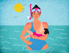 Illustration of a mother breastfeeding in the water