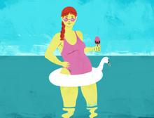 Illustration of a pregnant woman at the beach with ice cream