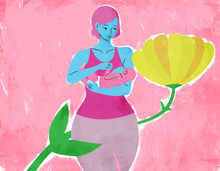 Illustration of a breastfeeding mother and flower.