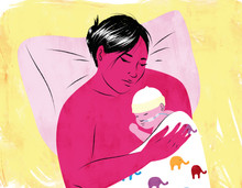 Mother and premature baby skin-to-skin resting