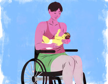 Illustration of a mother breastfeeding in a wheelchair