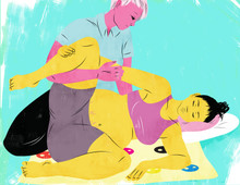 Illustration of a Doula helping a mother give birth in a side-lying position