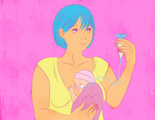 Illustration of a Mother feeding baby with an NG tube