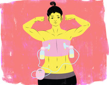 Muscular woman pumping breastmilk