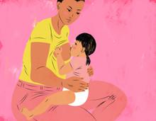 Seated mother breastfeeding