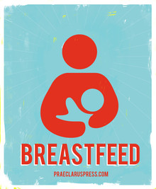 Free poster download-Blue and red breastfeeding
