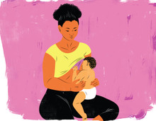 Sitting and breastfeeding mother
