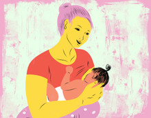Mother breastfeeding with the cross-cradle hold