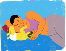 Breastfeeding, inverted side lying position