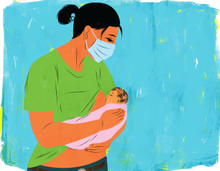 Mother breastfeeding wearing medical mask