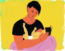 Breastfeeding with nursing pillow