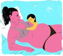 Pregnant mother breastfeeding older infant