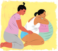Birth with Doula and birthing ball
