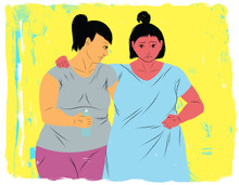 Doula supporting a standing mother in labor