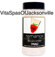 Indulge in a little romance when you luxuriate in a spa filled with these intoxicating 'Romance' Spazazz Strawberries N' Champagne spa bath salts. These champagne salts will remove any tension and stress from your body and relax your muscles. Anti-inflammatory and all-natural, these spa aromatherapy crystals create a soothing atmosphere, and their luscious strawberry and champagne scent set the mood for desire and romance.