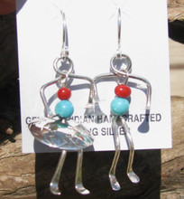 Sterling Silver Boy and Girl Earrings w/ Turquoise & Coral