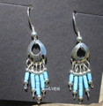 Sterling Silver Bear Paw Earrings w/ Turquoise