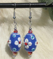 Blue, White & Red Glass Earring ER286