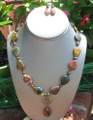 Jasper Pretzel Knot Necklace & Earrings