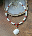 Clam Shell and Red Crystal Anklet