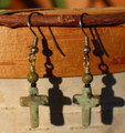 Green Jasper Cross Earrings