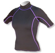 Women's Short Sleeve Polypro Rashguard - Black (B29)