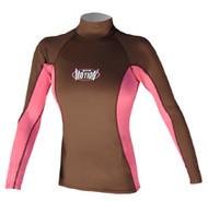 Women's Long Sleeve Lycra Rashguard - Wood/Pink (D73)