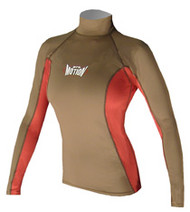 Women's Long Sleeve Lycra Rashguard - Olive/Red (D74)
