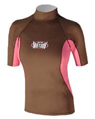 Women's Short Sleeve Lycra Rashguard - Wood/Pink (D71)