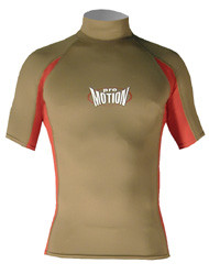 Men's Short Sleeve Lycra Rashguard - Olive/Red (D66)