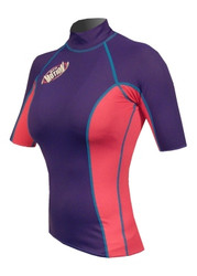 Women's Short Sleeve Lycra Rashguard - Navy/Pink (G34)