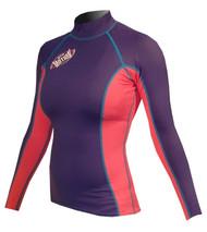Women's Long Sleeve Lycra Rashguard - Navy/Pink (G32)