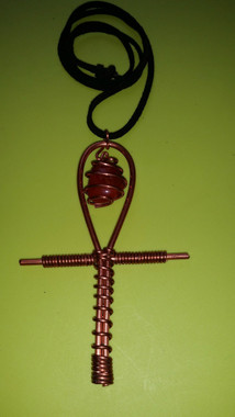 Copper LoveAnkh with Crystal (Leather Cord)