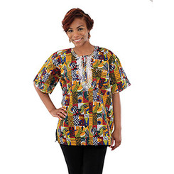 Fish Bird Africa Dashiki (Unisex) Red