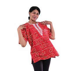 Mud Print African Dashiki (Unisex) Red