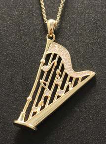 Pedal Harp Necklace Gold