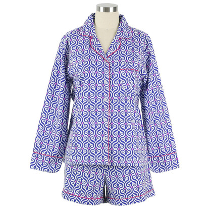 Ellie Navy women's cotton pajama set with long sleeve top and boxer shorts