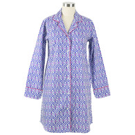 Ellie Navy women's classic cotton long sleeve button-front nightshirt with pockets