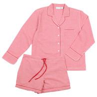 Red Gingham long sleeve shorty pajamas
