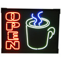 """Open"" with Steaming Coffee Mug Neon Sign"
