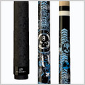 Black forearm with graphic blue & white anarchy skulls and a black back-end loaded rubberized grip with skull Mz Multi-Zone traction pattern.  Wood: 100% North American Grade A Hard Rock Maple   Joint: Implex   Tip: Le Pro tip   Weight: Standardized weighting system 18oz-21oz available   Butt cap: Black Implex