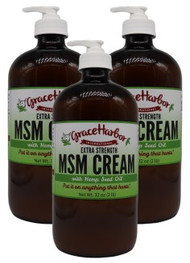 Value Pack - Extra-Strength MSM Cream (with Essential Oils), Three 32 oz. Glass Bottles