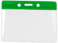 1820-1004 - Badge Holder Horizontal Green Bar 100 Per Pack
