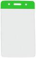 1820-1054 - Badge Holder Vertical Green Bar 100 Per Pack