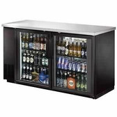 "Back Bar Cooler, Glass Door,60"" with Stainless Steel Top and LED Lighting"