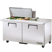 "True TSSU-60-15M-B 60"" Mega Top Two Door Sandwich / Salad Prep Refrigerator - Fifteen Pans"