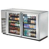 """True TBB-24GAL-60G-S-LD 60"""" Stainless Steel Glass Door Back Bar Refrigerator with Galvanized Top and LED Lighting - 24"""" Deep"""